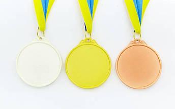 Медаль спортивная с лентой двухцветная d-6,5см Единоборства C-4853 (металл,покр. 2тона, 56g золото, серебро, бронза), фото 2