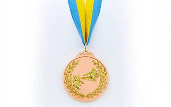 Медаль спортивная с лентой двухцветная d-6,5см Каратэ C-7026 место (металл,покр. 2тона, 56g, 1-золото, 2-серебро, 3-бронза), фото 3