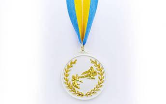 Медаль спортивная с лентой двухцветная d-6,5см Каратэ C-7026 место (металл,покр. 2тона, 56g, 1-золото, 2-серебро, 3-бронза), фото 2