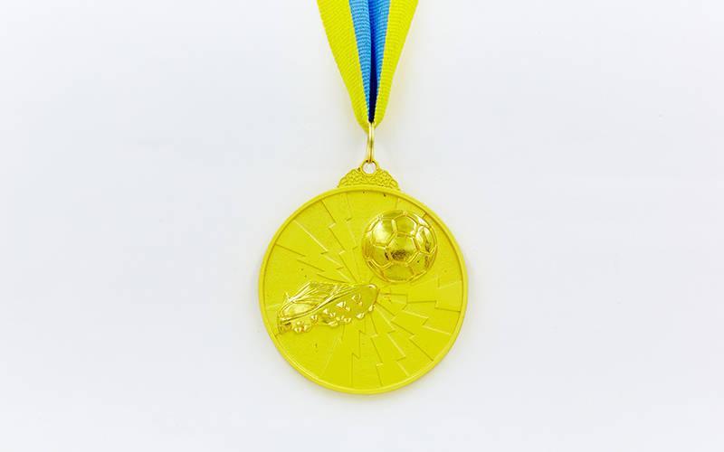 Медаль спортивная с лентой двухцветная d-6,5см Футбол C-4847 (металл, покрытие 2 тона, 56g золото, серебро, бронза)