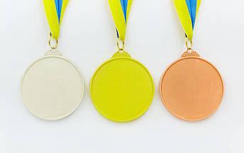 Медаль спортивная с лентой двухцветная d-6,5см Футбол C-4847 (металл, покрытие 2 тона, 56g золото, серебро, бронза), фото 2