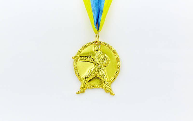 Медаль спортивная с лентой Карате d-5см C-4338 (металл, d-5см, 29g золото, серебро, бронза)