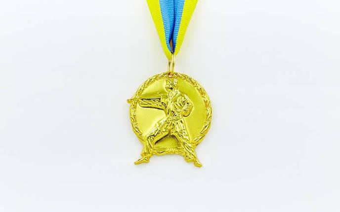 Медаль спортивная с лентой Карате d-5см C-4338 (металл, d-5см, 29g золото, серебро, бронза), фото 2