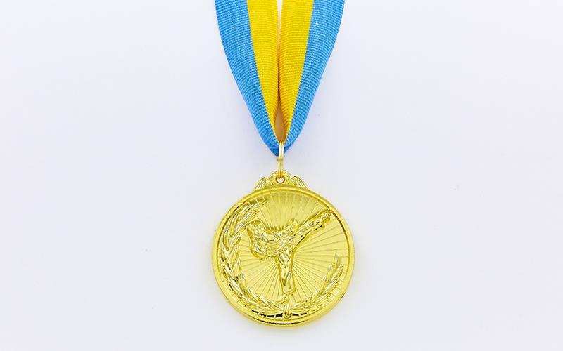 Медаль спортивная с лентой Каратэ d-5см C-7016 (металл, d-5см, 25g, 1-золото, 2-серебро, 3-бронза)