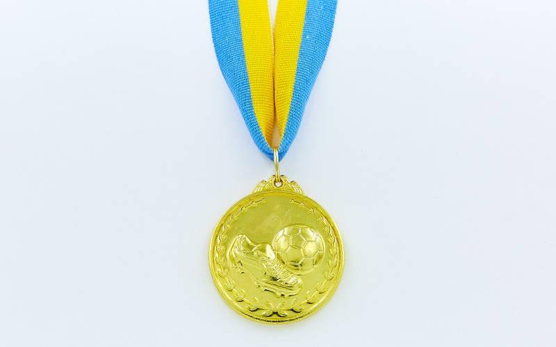 Медаль спортивная с лентой Футбол d-5см C-7011 (металл, d-5см, 25g, 1-золото, 2-серебро, 3-бронза)