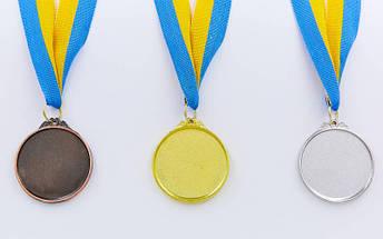 Медаль спортивная с лентой Футбол d-5см C-7011 (металл, d-5см, 25g, 1-золото, 2-серебро, 3-бронза), фото 2