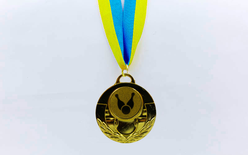Медаль спортивная с лентой AIM  d-5см Боулинг C-4846-0006 (металл, 25g, 1-золото, 2-серебро, 3-бронза)
