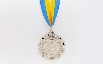 Медаль спортивная с лентой PREMIER d-6,5см C-6861 (металл, d-6,5см, 38g, 1-золото, 2-серебро, 3-бронза), фото 2