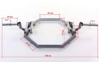 Гриф трэп восьмиугольный или рама для становой тяги AF5001 SUPER HEX TRAP (р-р 168x80x29см, d-5см), фото 3