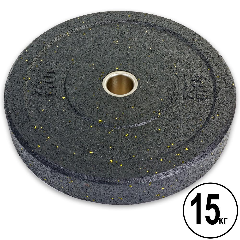 Бамперные диски для кроссфита Bumper Plates из структурной резины d-51мм RAGGY ТА-5126-15 15кг