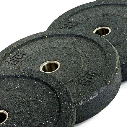 Бамперные диски для кроссфита Bumper Plates из структурной резины d-51мм RAGGY ТА-5126-15 15кг, фото 2