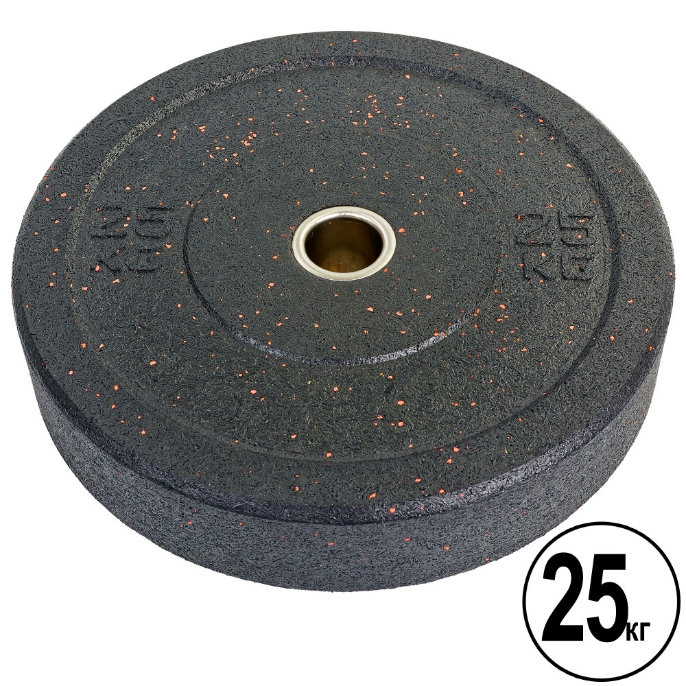 Бамперные диски для кроссфита Bumper Plates из структурной резины d-51мм RAGGY ТА-5126-25 25кг