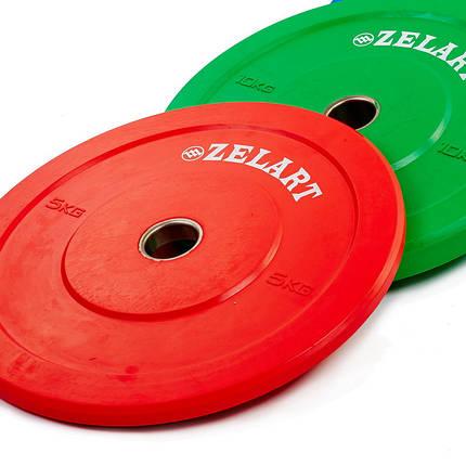 Бамперные диски для кроссфита Bumper Plates резиновые d-51мм Zelart Z-TOP ТА-5125- 5 5кг (красный), фото 2