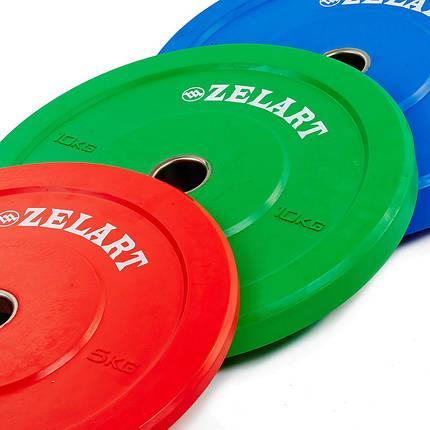 Бамперные диски для кроссфита Bumper Plates резиновые d-51мм Zelart Z-TOP ТА-5125-10 10кг (зеленый), фото 2