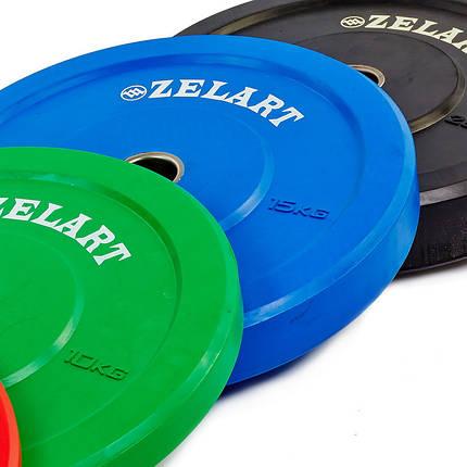 Бамперные диски для кроссфита Bumper Plates резиновые d-51мм Zelart Z-TOP ТА-5125-15 15кг (синий), фото 2
