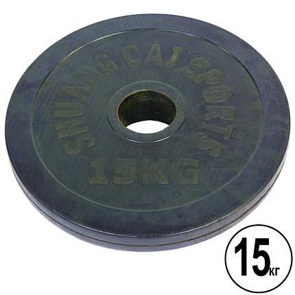 Блины (диски) обрезиненные d-52мм Shuang Cai Sports ТА-1448 15кг (металл, резина, черный), фото 2