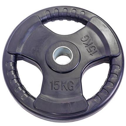 Блины (диски) обрезиненные с тройным хватом и металлической втулкой d-52мм TA-5706-15 15кг (черный), фото 2