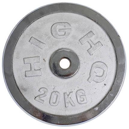 Блины (диски) хромированные d-30мм HIGHQ SPORT ТА-2189 20кг (металл хромированный), фото 2