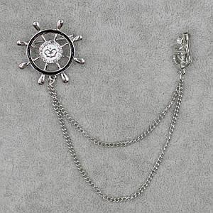 Брошь двойная с цепочкой Морская тематика БижуМир металл белого цвета