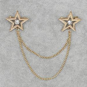 Брошь двойная с цепочкой Звезды БижуМир металл золотого цвета