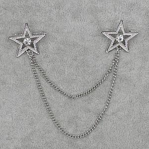 Брошь двойная с цепочкой Звезды БижуМир металл белого цвета