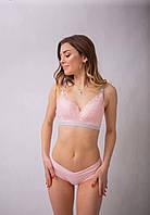 Комплект нижнего белья для беременных  кружевное розовое  с серой кайомкой
