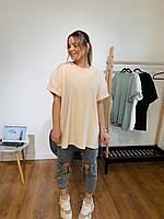 Женская базовая футболка оверсайз (белый, черный,хаки, оливка, фиолетовый,беж, красный, голубой, сирень), фото 1