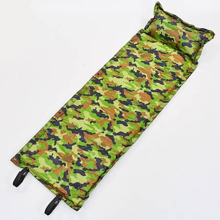 Коврик самонадувающийся с подушкой TY-0560 (полиэстер, размер 1,85мх0,5м, камуфляж), фото 2