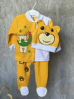 """Детский комплект """"Мишутка"""" на 68-74 см (3-9 мес) велюровый,  (ползунки, кофточка, шапочка) оранжевого цвета., фото 1"""