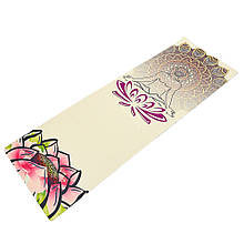 Коврик для йоги Джутовый (Yoga mat) двухслойный 3мм Record FI-7156-3 (размер 1,83мx0,61мx3мм, джут, каучук, бежевый, с принтом Спокойствие Лотоса)