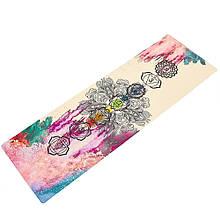 Коврик для йоги Джутовый (Yoga mat) двухслойный 3мм Record FI-7156-4 (размер 1,83мx0,61мx3мм, джут, каучук, бежевый, с принтом Чакры Акварель)