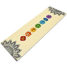 Коврик для йоги Джутовый (Yoga mat) двухслойный 3мм Record FI-7157-1 (размер 1,83мx0,61мx3мм, джут, каучук, бежевый, с принтом Мандала Чакры)