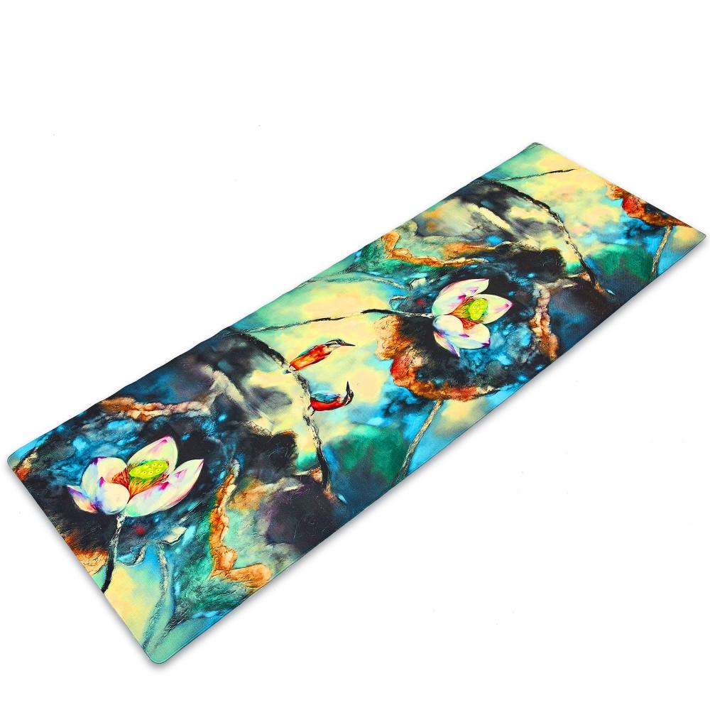 Коврик для йоги Джутовый (Yoga mat) двухслойный 3мм Record FI-7157-3 (размер 1,83мx0,61мx3мм, джут, каучук, темно-синий-белый,с принтом Зимородки и