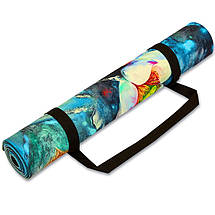 Коврик для йоги Джутовый (Yoga mat) двухслойный 3мм Record FI-7157-3 (размер 1,83мx0,61мx3мм, джут, каучук, темно-синий-белый,с принтом Зимородки и, фото 2