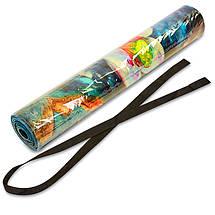Коврик для йоги Джутовый (Yoga mat) двухслойный 3мм Record FI-7157-3 (размер 1,83мx0,61мx3мм, джут, каучук, темно-синий-белый,с принтом Зимородки и, фото 3