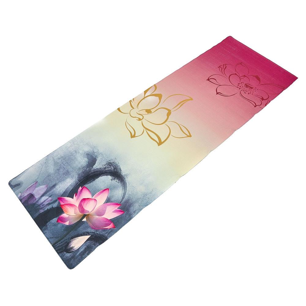 Коврик для йоги Джутовый (Yoga mat) двухслойный 3мм Record FI-7157-4 (размер 1,83мx0,61мx3мм, джут, каучук, серый-розовый, с принтом Лотос)