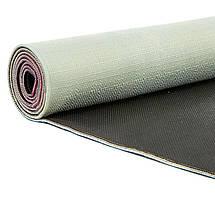 Коврик для йоги Джутовый (Yoga mat) двухслойный 3мм Record FI-7157-4 (размер 1,83мx0,61мx3мм, джут, каучук, серый-розовый, с принтом Лотос), фото 2