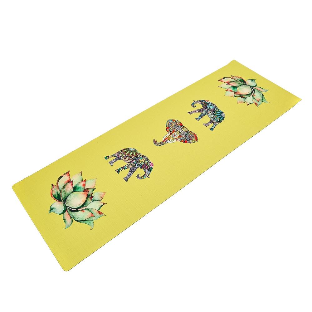 Коврик для йоги Джутовый (Yoga mat) двухслойный 3мм Record FI-7157-6 (размер 1,83мx0,61мx3мм, джут, каучук, желтый, с принтом Слон и Лотос)