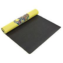 Коврик для йоги Джутовый (Yoga mat) двухслойный 3мм Record FI-7157-6 (размер 1,83мx0,61мx3мм, джут, каучук, желтый, с принтом Слон и Лотос), фото 3