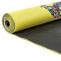 Коврик для йоги Джутовый (Yoga mat) двухслойный 3мм Record FI-7157-6 (размер 1,83мx0,61мx3мм, джут, каучук, желтый, с принтом Слон и Лотос), фото 2