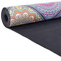 Коврик для йоги Замшевый каучуковый двухслойный 3мм Record FI-5662-18 (размер 1,83мx0,61мx3мм, синий-красный, с принтом Восточный Калейдоскоп), фото 2