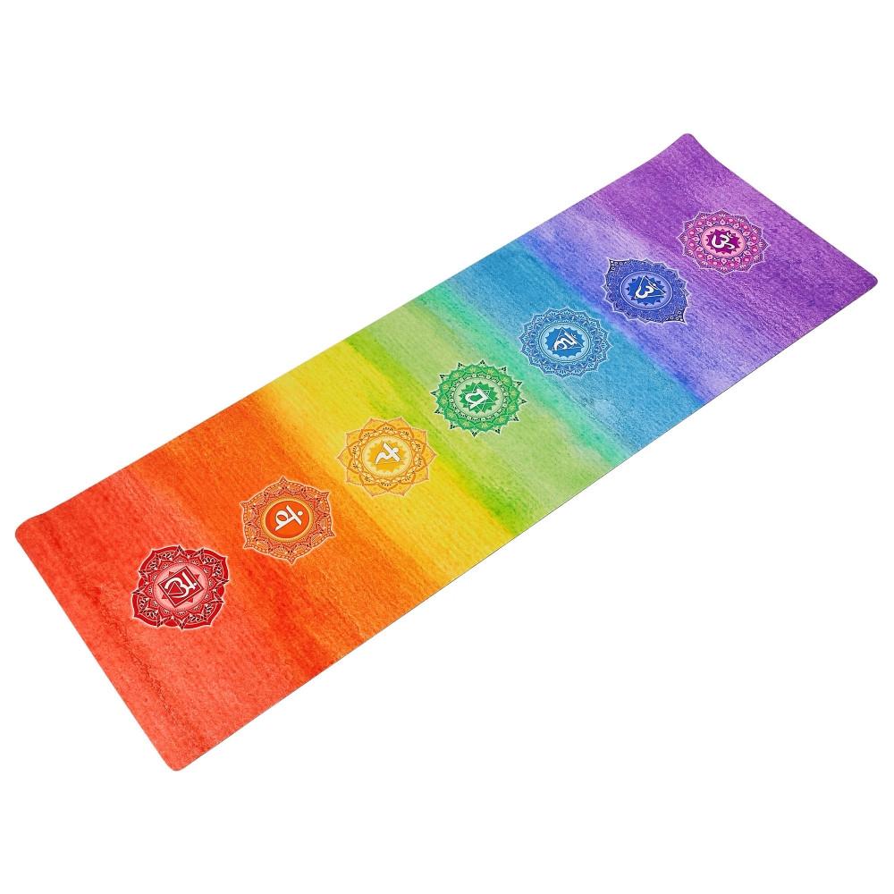 Коврик для йоги Замшевый каучуковый двухслойный 3мм Record FI-5662-44 (размер 1,83мx0,61мx3мм, радужный разноцветный)