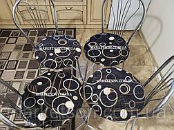 Чехол на круглый стул Комплект 4 шт на резинке Накидка сидушка на круглые стулья, фото 2