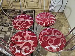 Чехол на круглый стул Комплект 4 шт на резинке Накидка сидушка на круглые стулья, фото 3