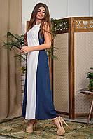 Сарафан женский льняной в пол без рукавов синий