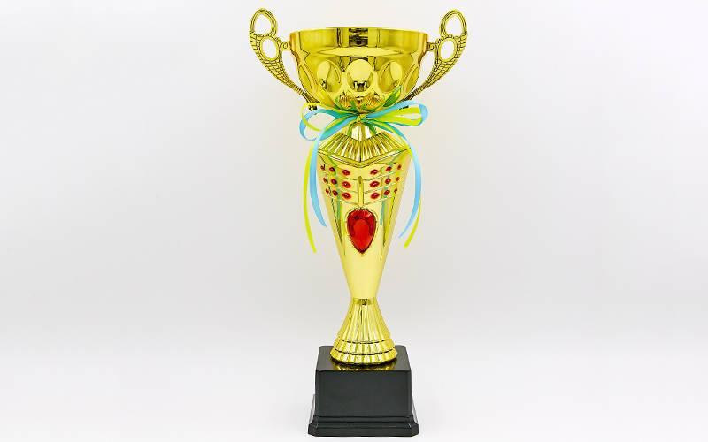 Кубок спортивный с ручками FLAME Y153A (металл, пластик, h-36см, b-19см, d чаши-19см, золото)