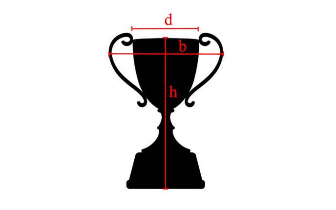 Кубок спортивный с ручками h-23см C-895-3 (пластик, h-23см, b-14см, d чаши-9см, золото), фото 2