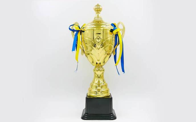Кубок спортивный с ручками и крышкой TRUST C-4067C (металл, пластик, h-38см, b-20см, d чаши-см, золото), фото 2