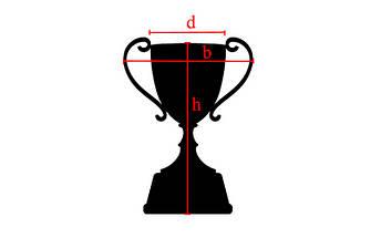 Кубок спортивный с ручками и крышкой TRUST C-4067C (металл, пластик, h-38см, b-20см, d чаши-см, золото), фото 3