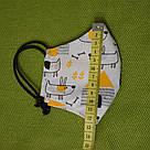 Маска защитная двухслойная хлопковая многоразовая детская в трех размерах, фото 7